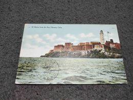 ANTIQUE POSTCARD CUBA HABANA EL MORRO FROM THE SEA CIRCULATED NO STAMP 1910 - Postcards