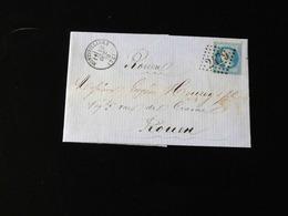 LETTRE DE MONTIVILLIERS POUR ROUEN  -  1870  -   2479 SUR CACHET LOSANGE - 1801-1848: Voorlopers XIX