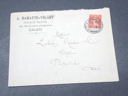 FRANCE - Oblitération De Londres Sur Semeuse Sur Enveloppe Commerciale De Calais En 1917 Pour Boussières - L 18850 - Marcophilie (Lettres)