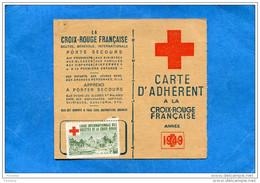 Carte D'adhérent Croix Rouge 1949+Vignette  Afférente-ligue Internationale Des Stés Croix Rouge - Commemorative Labels