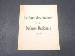 """FRANCE - Fascicule De Propagande Anti Communiste """" Le Parti Des Traitres Et La Défense Nationale """" - L 18852 - Collections"""