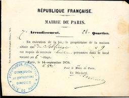 Siège De Paris (1870) Réquisition De Logement - Documents Historiques