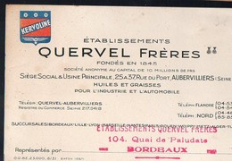 Bordeaux (33 Gironde) Carte QUERVEL Frères Huiles Et Graisses Pour Auto (2) (PPP13308B) - Reclame