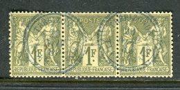 Superbe Bande De Trois N° 72 - Cachet à Date Perlé De Trébizonde ( 1880 ) - 1876-1878 Sage (Type I)