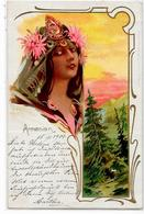 CPA Arménie Arménia Circulé Art Nouveau Femme Girl Women Voir Scan Du Dos - Arménie
