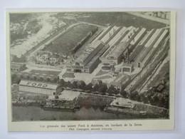 1931 ASNIERES - Usines Automobiles FORD  Vue D 'avion    - Coupure De Presse Originale (encart Photo) - Documents Historiques
