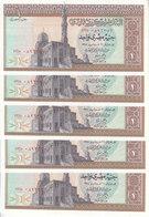 EGYPT 1 EGP 1975 P-44 SIG/ ZINDO #14 LOT X5 UNC NOTES  */* - Egypt