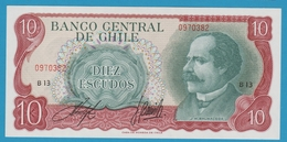CHILE 10 ESCUDOS ND (1970) Serie# B13 0970382 P# 142Aa José Manuel Balmaceda - Chile