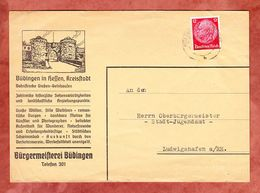Illustrierter Umschlag Burganlage, EF Hindenburg, Buedingen Nach Ludwigshafen 1940 (52682) - Briefe U. Dokumente