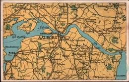 !  Alte Ansichtskarte Landkarte Aalborg, Dänemark, Danmark, Map - Cartes Géographiques