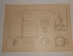 Plan D'un Réservoir Métallique à Paris Montmartre. 1890 - Public Works