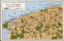 !  Alte Ansichtskarte Landkarte Pommern, Wollin, Cammin, Kolberg, Map - Pommern