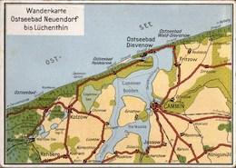 !  Alte Ansichtskarte Landkarte Pommern, Map, Ostseebad Neuendorf, Dievenow, Kolzow, Cammin - Pommern