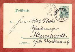 P 58 X Germania, Ludwigsburg Nach Murrhardt 1902 (52685) - Germania