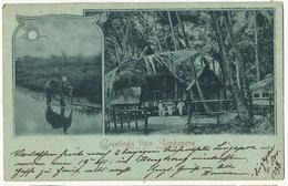 Singapore . Greetings Bleu à La Lune . Elephant . P. Used 1898 To Ingelfingen - Singapour