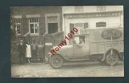 Merksem- Merxem. Photo-carte Animée. Camionnette Union Margarinière SOLO. Devant Café Bronsart. Bière Royalaeken. Rare! - Antwerpen