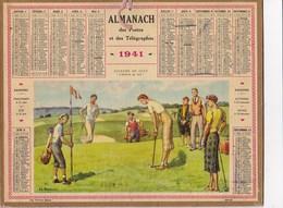 Almanach Des Postes Et Télégraphes  1941 Illustré Joueurs De Golf  L Arrivée Au But  J-L Beuzon Femmes élégantes Caddy - Calendriers