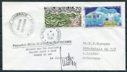 1981 T.A.A.F. Alfred Faure, Marion Defrense Signed Paquebot Ship Cover. Antarctic - French Southern And Antarctic Territories (TAAF)