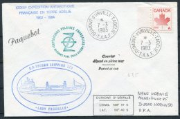 1983 Canada TAAF Antarctic Paquebot Cover. Dumont D'Urville 'Lady Franklin' Ship Expedition - French Southern And Antarctic Territories (TAAF)