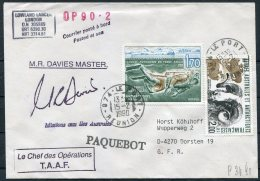 1990 TAAF Antarctica Reunion Paquebot Ship Cover. Lowland Lancer - French Southern And Antarctic Territories (TAAF)