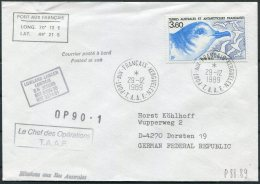 1989 TAAF Port-aux-Francais T.A.A.F. Antarctic Ship Cover. Lowland Lancer - French Southern And Antarctic Territories (TAAF)