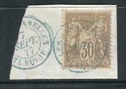 Superbe N° 69 Cachet à Date Bleu Des Dardanelles ( Turquie 1877 ) Sur Petit Fragment - Marcophily (detached Stamps)