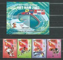 Vietnam Viet Nam 2003.Sports.Asia Games.SOCCER/HURDLES/WRESTLING/KAYAKING MNH.S/S And Stamps - Viêt-Nam