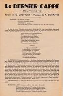 """Le Dernier Carré """"G Chevalier 1881 1950 """" Partitions Musicales Anciennes (Format 2 Pages 18 X 28) - Song Books"""