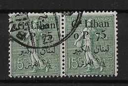 Libano 1924-25 Pareja De Sellos Usados Sellos De Francia De 1900-24 Con Sobrecarga Yvert 25 - Líbano