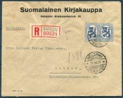 1925 Finland Helsinki Registered Suomalainen Kirjakauppa Cover - Lubeck. Hamburg / Sassnitz Train Railway TPO - Finland