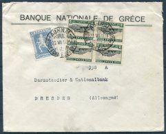 1934 Greece National Bank Athens Cover - Darmstaedter & National Bank, Dresden Germany - Covers & Documents