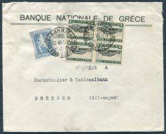 1934 Greece National Bank Athens Cover - Darmstaedter & National Bank, Dresden Germany - Greece