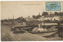 5 Douala Cameroun Les Quais Edit  S.E.A. Cliché André Cachet Train Duala à Eseka  Timbre Recollé - Cameroun