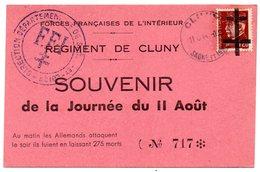 FRANCE - Libération - Pétain Sur Carte Souvenir Régiment De Cluny Du 11.8.44 - Libération