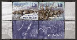 Bosnia Croatia 2018 Europa CEPT, Bridges, Bruecken Ponts, Architecture, Set With 2 Labels In Block Of 4 MNH - 2018