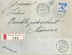 Lokaler R Brief  Buchs SG Dorf - Azmoos            1937 - Briefe U. Dokumente
