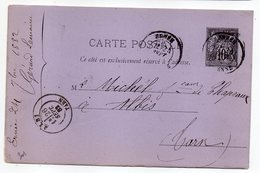1882--entier Carte Postale SAGE 10c Noir-cachet  ERNEE - Mayenne -53  -ALBI--Tarn- - Postal Stamped Stationery