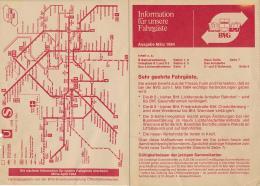 BERLIN, ALLEMAGNE : Plan (1984) Des Bus Et Des Trains BVG, Linienmanahmen, Bahn-Fahrplane, Dépliant 4 Volets Recto-verso - Europe