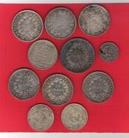 Lot 10 Pièces France Argent 5,10, 50, 100 Francs 1841 à 1990 - France