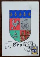ALGERIE - CM / Carte Maximum 1950 - YT N°256 - Armoiries D'Oran - PLASMARINE - Cartes-maximum