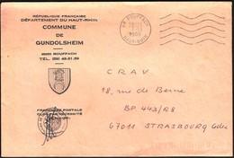 France Rouffach 1986 / Commune De Gundolsheim / Coat Of Arms - Postmark Collection (Covers)