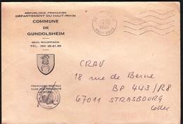 France Rouffach 1985 / Commune De Gundolsheim / Coat Of Arms - Postmark Collection (Covers)