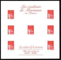 FRANCE - Blocs Des Couleurs De La Marianne En Francs Et En Euros - Epreuves Sur Carton - 4 Scans - Variétés Et Curiosités