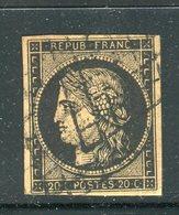 Superbe N° 3 Noir Sur Chamois Clair - 1849-1850 Ceres