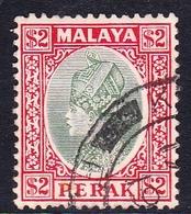 Malaysia-Perak SG 101 1936 Sultan Iskandar, $ 2.00  Green And Scarlet, Used - Perak