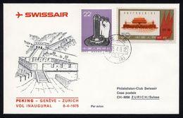 CHINA 1961 - Communist # 906 On First Swissair Fligh Cover ( Shanghai -Geneve- Zurich ) - RARE ! - 1949 - ... People's Republic