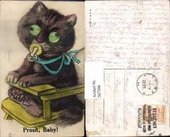 567506,Katze M. Glasaugen Material Glas Humor Scherz - Ansichtskarten