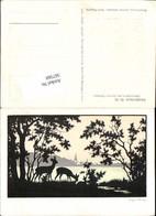 567560,Künstler AK Josefine Allmayer Scherenschnitt Silhouette Jagd Rehe Künstlerkart - Scherenschnitt - Silhouette