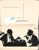567565,Künstler AK Theo Zasche Rauchen Männer Scherenschnitt Silhouette - Scherenschnitt - Silhouette