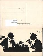 567566,Künstler AK Theo Zasche Rauchen Männer Scherenschnitt Silhouette - Scherenschnitt - Silhouette